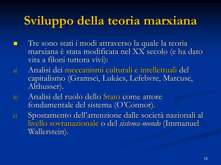 Sviluppo della teoria marxiana