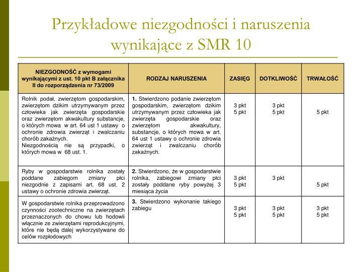 Przykładowe niezgodności i naruszenia wynikające z SMR 10