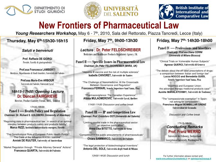 New Frontiers of Pharmaceutical Law