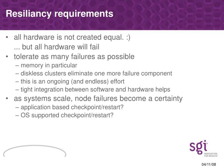 Resiliancy requirements