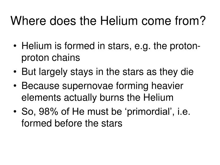 Where does the Helium come from?