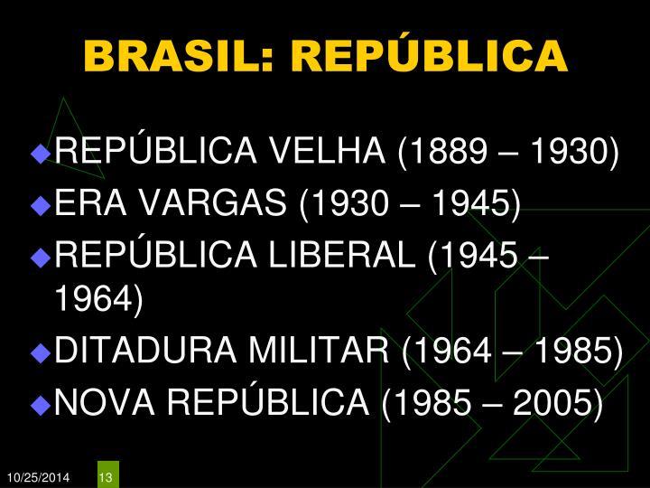 BRASIL: REPÚBLICA
