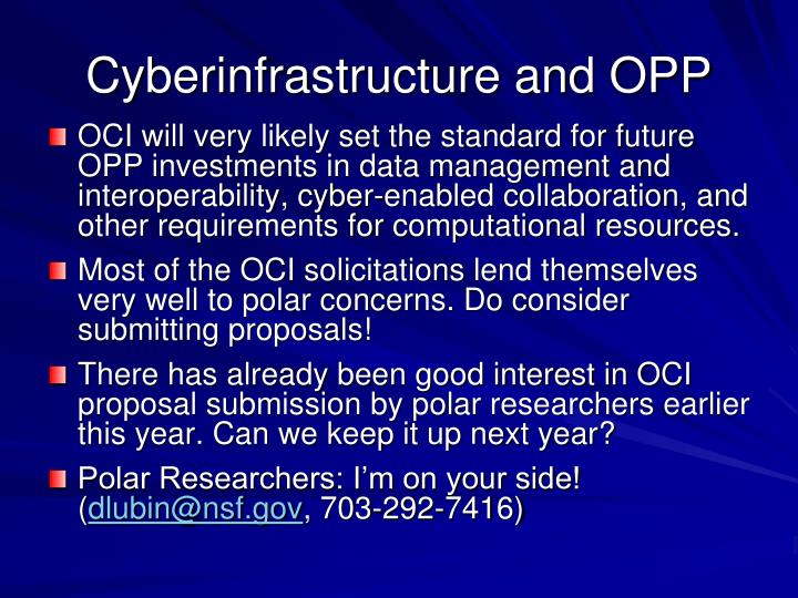 Cyberinfrastructure and OPP