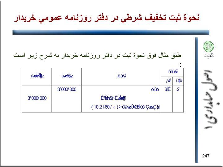 نحوة ثبت تخفيف شرطي در دفتر روزنامه عمومي خريدار