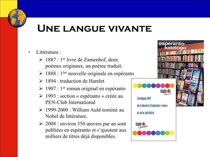 Une langue vivante