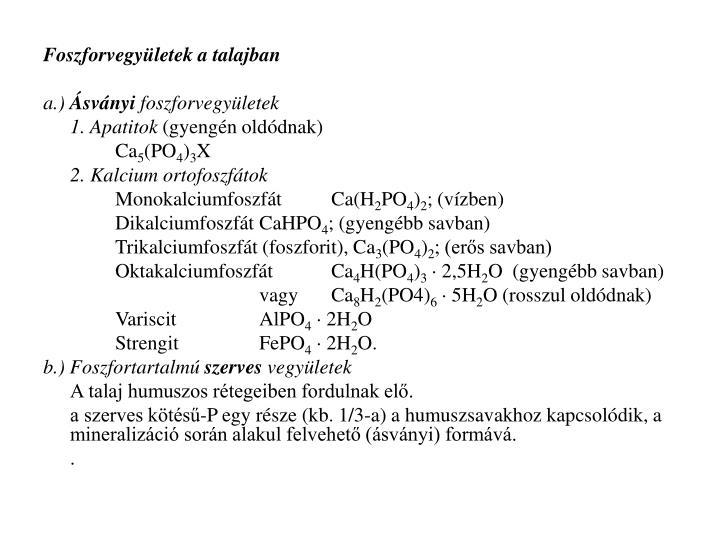 Foszforvegyületek a talajban