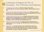 continuum of support for tier 2 secondary tier 3 tertiary level systems
