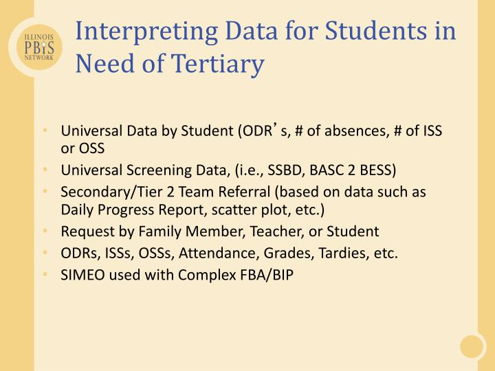 Interpreting Data for Students in Need of Tertiary