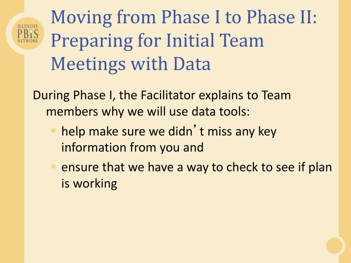 Moving from Phase I to Phase II: Preparing for Initial Team Meetings with Data