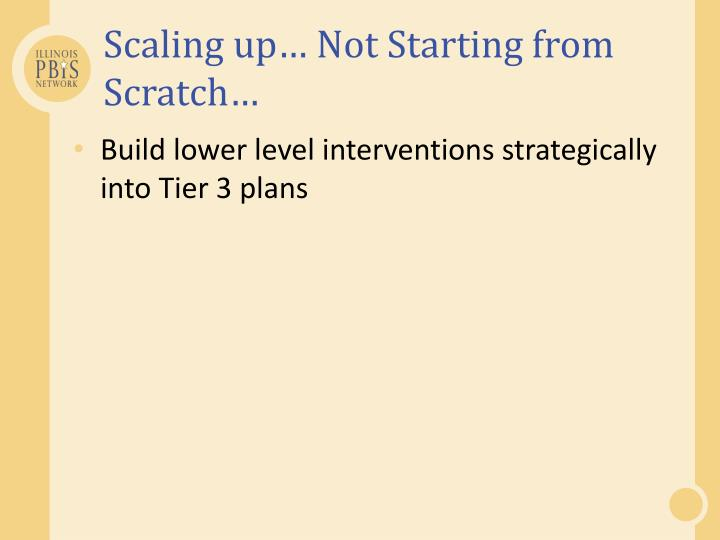 Scaling up… Not Starting from Scratch…