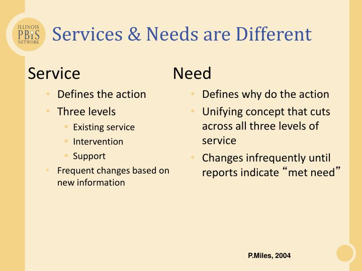 Services & Needs are Different