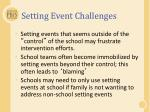 setting event challenges