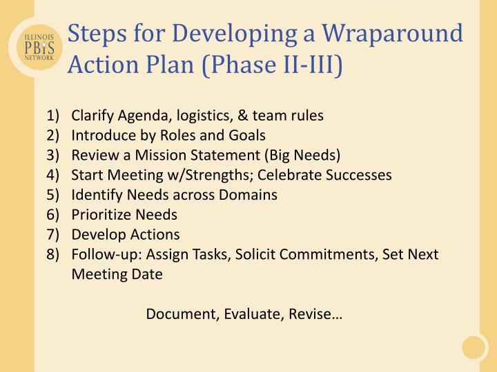 Steps for Developing a Wraparound Action Plan (Phase II-III)