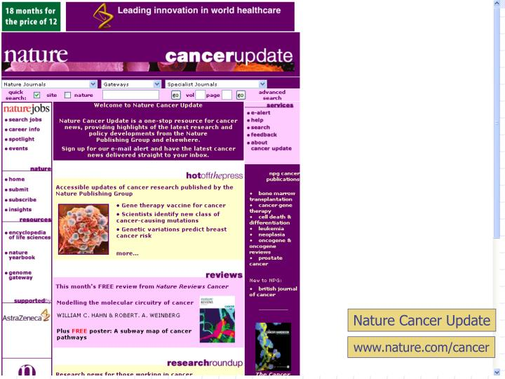Nature Cancer Update