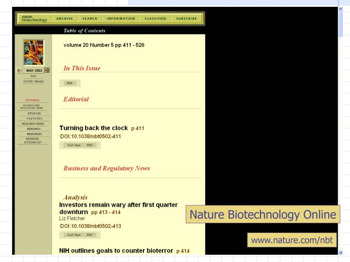 Nature Biotechnology Online