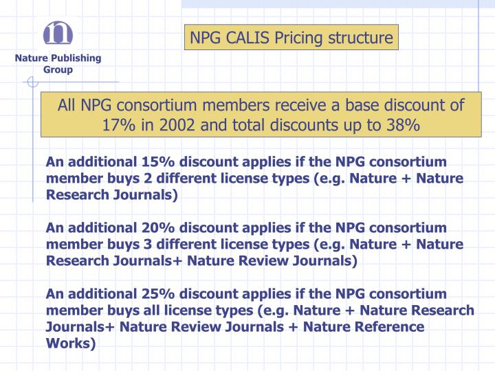 NPG CALIS Pricing structure