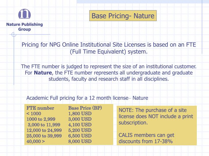 Base Pricing- Nature