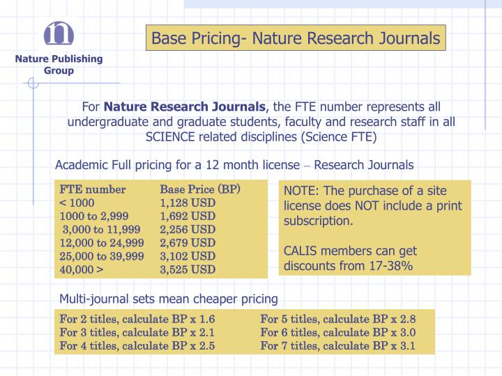 Base Pricing- Nature Research Journals