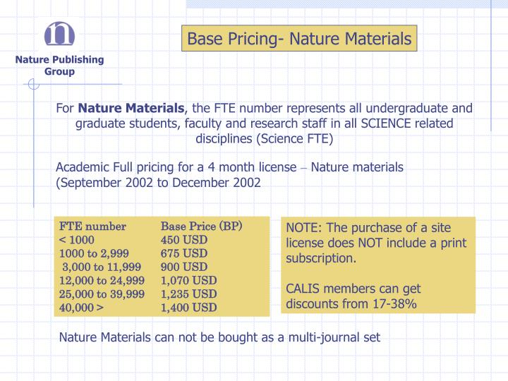 Base Pricing- Nature Materials
