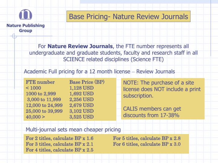 Base Pricing- Nature Review Journals