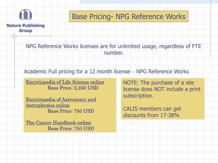 Base Pricing- NPG Reference Works