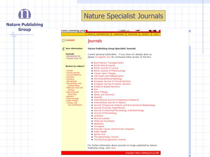 Nature Specialist Journals