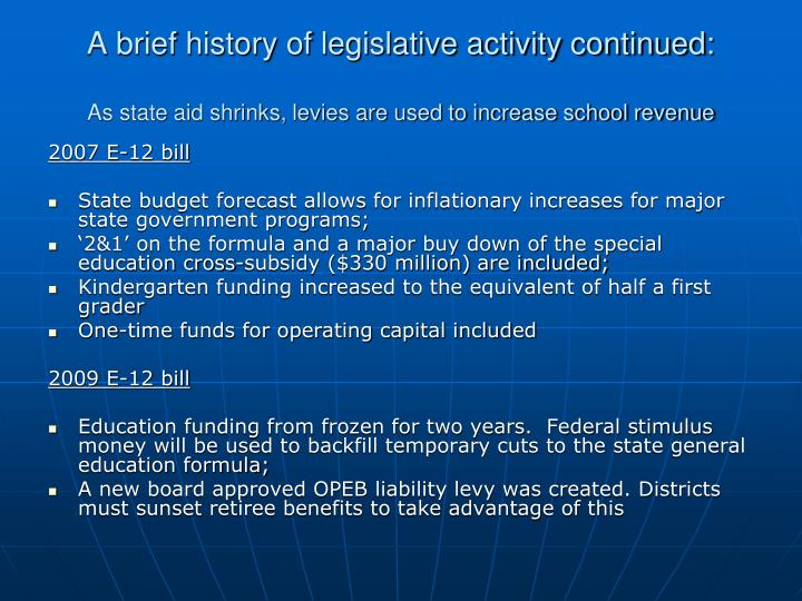 A brief history of legislative activity continued: