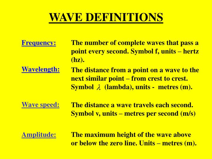 WAVE DEFINITIONS