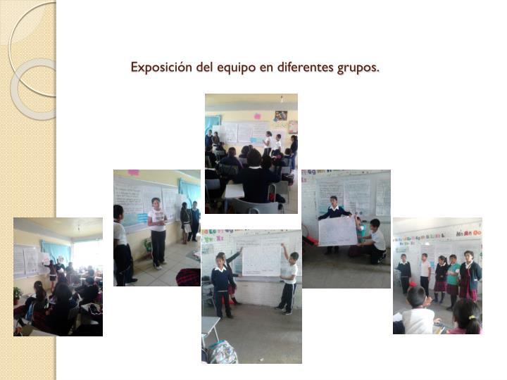Exposición del equipo en diferentes grupos.