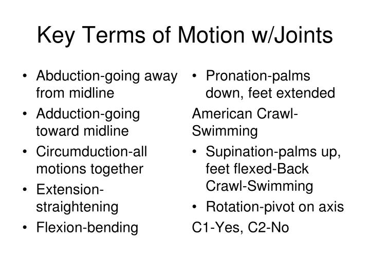 Key Terms of Motion w/Joints