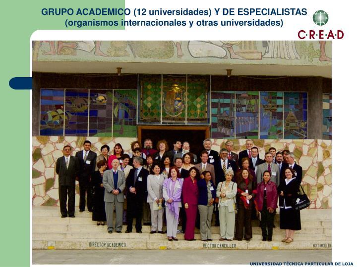 GRUPO ACADEMICO (12 universidades) Y DE ESPECIALISTAS (organismos internacionales y otras universidades)