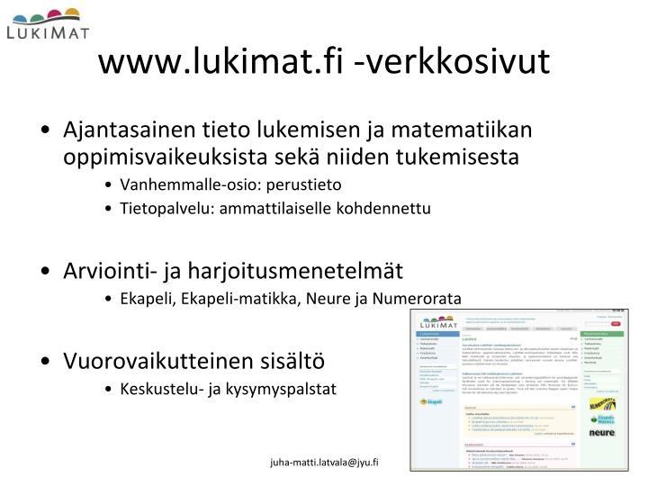 www.lukimat.fi -verkkosivut