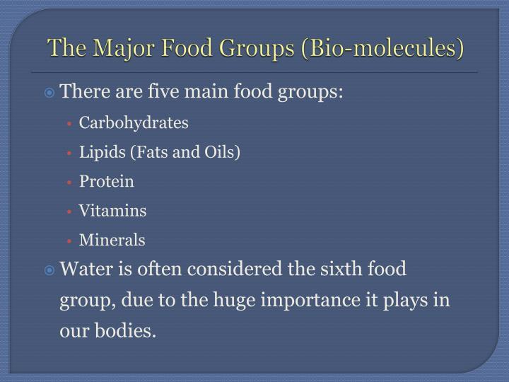 The Major Food Groups (Bio-molecules)
