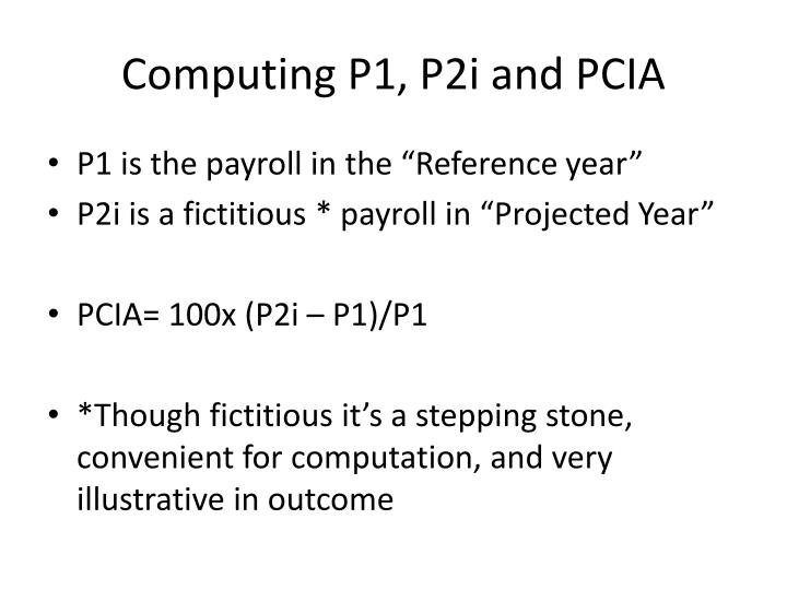 Computing P1, P2i and PCIA