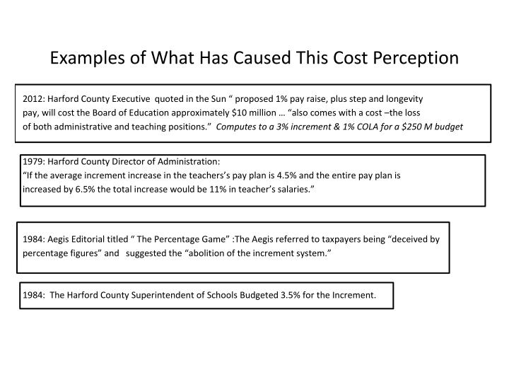 Examples of What Has Caused This Cost Perception