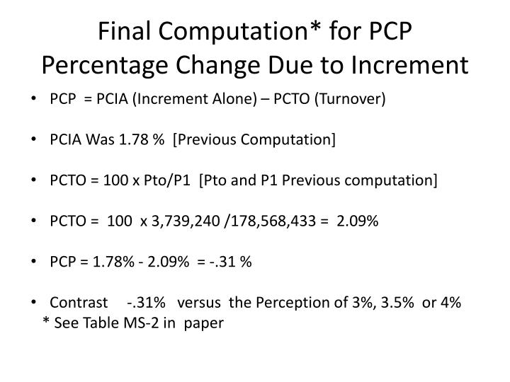 Final Computation* for PCP