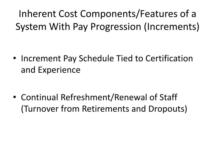 Inherent Cost Components/Features of a System With Pay Progression (Increments)