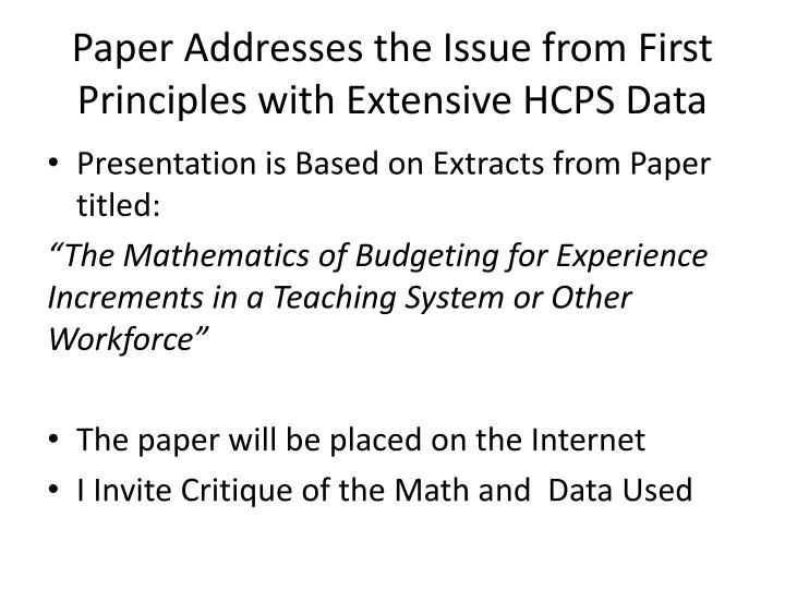 Paper Addresses the Issue from First Principles with Extensive HCPS Data