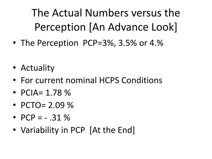 The Actual Numbers versus the Perception [An Advance Look]