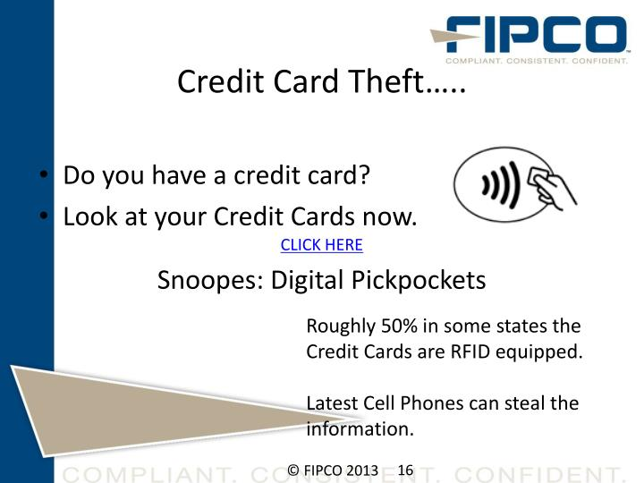 Credit Card Theft…..