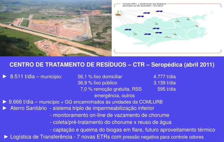 CENTRO DE TRATAMENTO DE RESÍDUOS – CTR – Seropédica (abril 2011)