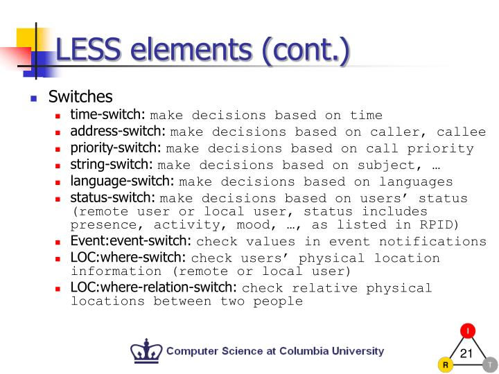 LESS elements (cont.)