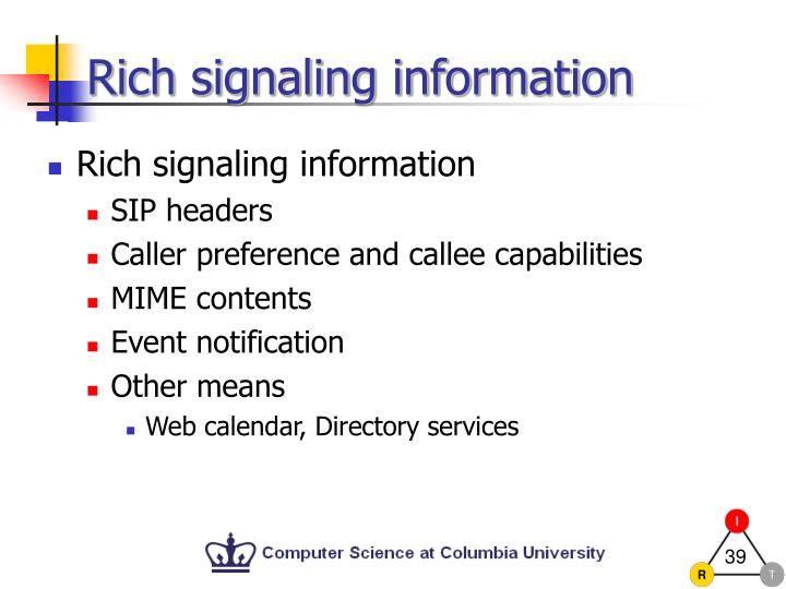 Rich signaling information