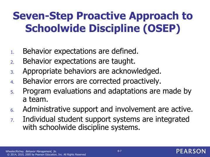 Seven-Step Proactive Approach to Schoolwide Discipline (OSEP)