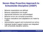 seven step proactive approach to schoolwide discipline osep