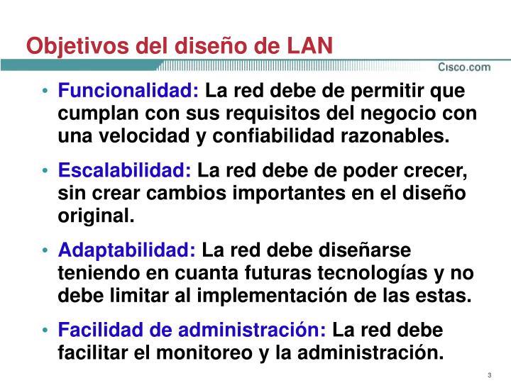 Objetivos del diseño de LAN