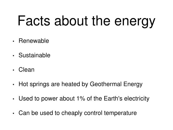 Facts about the energy