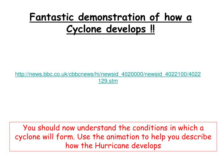 Fantastic demonstration of how a Cyclone develops !!
