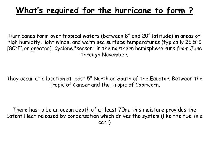 What's required for the hurricane to form ?