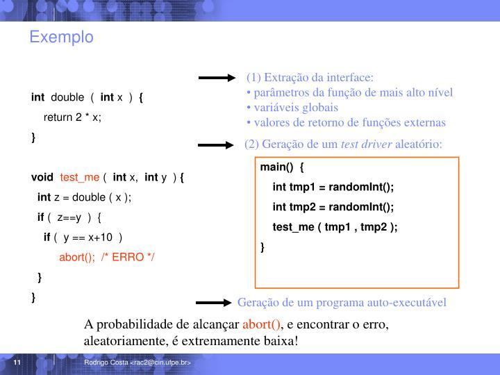 (1) Extração da interface: